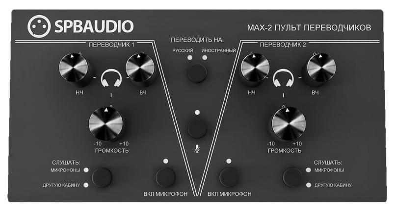 Панель управления пульта переводчиков SPBAUDIO MAX-2.